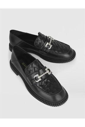 İlvi Kadın Siyah Megan Hakiki Deri Makosen Ayakkabı