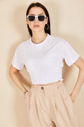 Morpile Kadın Beyaz Bel Büzgülü Krop Tshirt