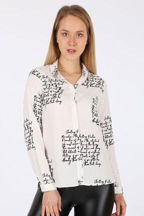 Bigdart Kadın Beyaz Desenli Viskon Gömlek 3898