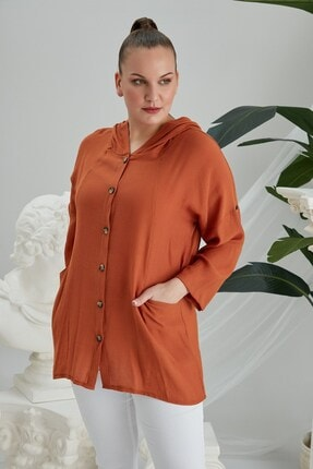 Rmg Kadın Kiremit Kol Detaylı Kapşonlu Büyük Beden Kiremit Gömlek