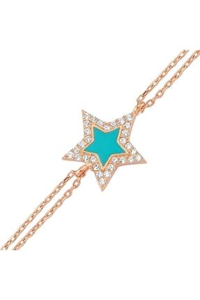 Altın Sepeti Rose Gümüş Mavi Mineli Yıldız Bileklik