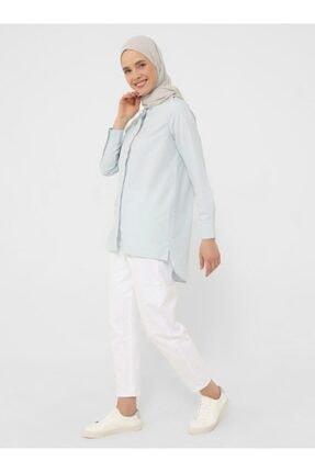 Refka Kadın Doğal Kumaşlı Boydan Düğmeli Tunik - Açık Mavi -