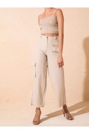 Bsl Bej Yüksek Bel Körük Cep Detaylı Pantolon