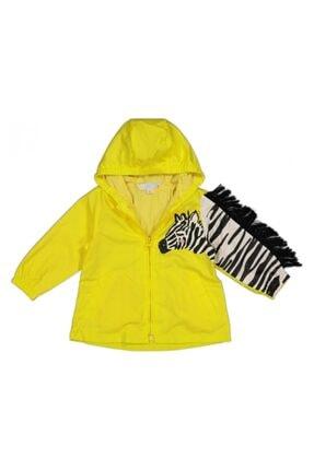 Midimod Kız Bebek Sarı Kol Zebra Desenli Yağmurluk
