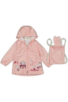 Midimod Kız Bebek Pembe Tavşan Baskılı Çantalı Yağmurluk