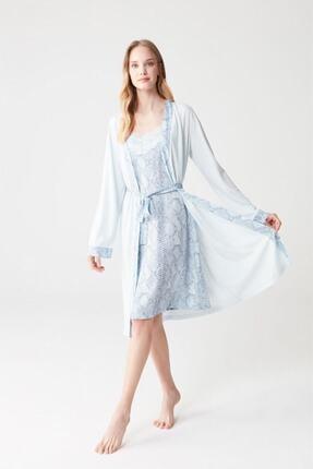 Mod Collection Kadın Mavi Sabahlık Takım