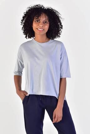 Addax Kadın Buz Mavi Bisiklet Yaka Kısa T-Shirt P9269 - L9 Adx-0000018013