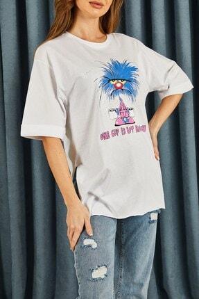 Hadise Kadın Beyaz Bıyıklı Kedi Baskılı T-shirt
