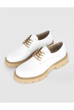 İlvi Kadın Deri Beyaz Oxford Ayakkabı