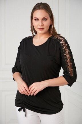 Rmg Omuz Dantel Detaylı Büyük Beden Siyah Bluz