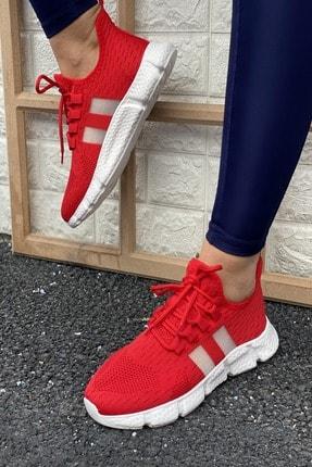 İnan Ayakkabı Kadın Kırmızı Triko Spor Ayakkabı