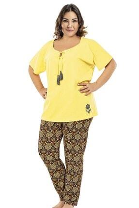 ERDEM Kadın Sarı Desenli Yazlık Pijama Takımı 8663