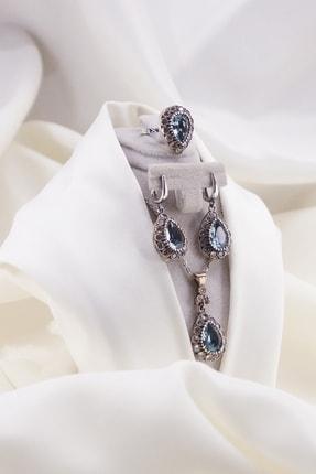 Faber Silver Otantik Aqua Taşlı Takı Seti Kolye Yüzük Küpe 925 Ayar Gümüş