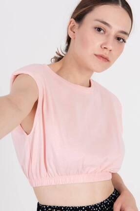 Addax Kadın Pembe Vatkalı Basic T-Shirt P0992 - E13 Adx-0000022473