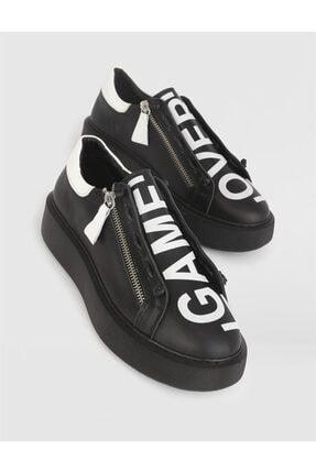 İlvi Kadın Siyah Beyaz Lokon Deri Spor Ayakkabı
