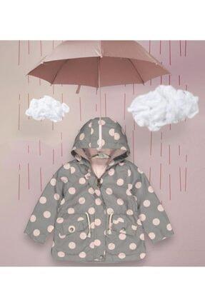 Midimod Kız Çocuk Puantiye Baskılı Kapüşonlu Yağmurluk Rüzgarlık Ceket