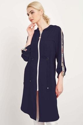 Moda İlgi Kadın Lacivert  Kapüşonlu Fermuarlı Tunik