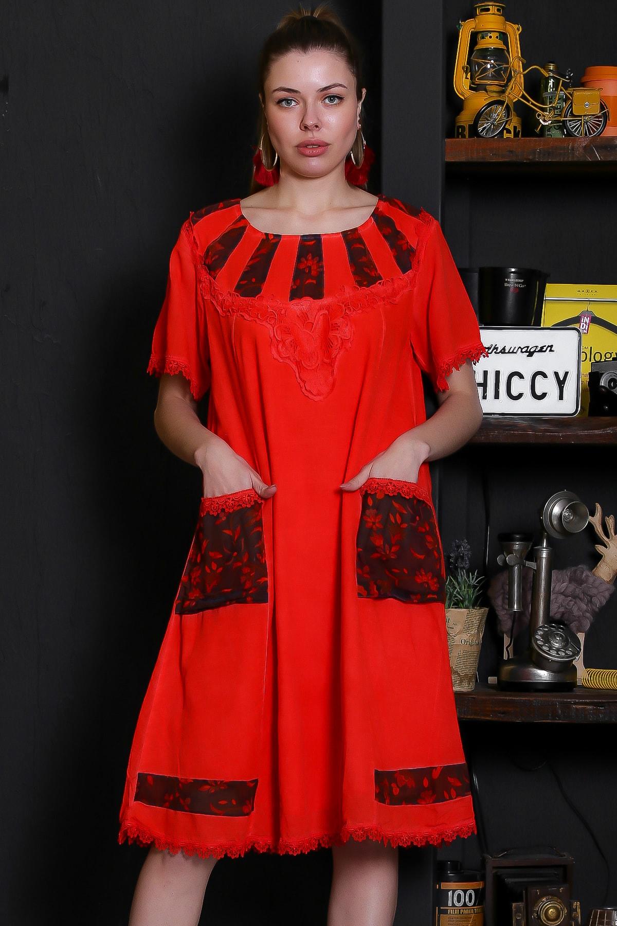 Chiccy Kadın Nar Çiçeği Tülbent Bloklu Yakası Dantel Cepli Yıkamalı Elbise M10160000EL95292