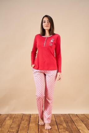 PJS PİJAMA 21808 Kadın Patlı Puantiyeli Cepli Pijama Takım