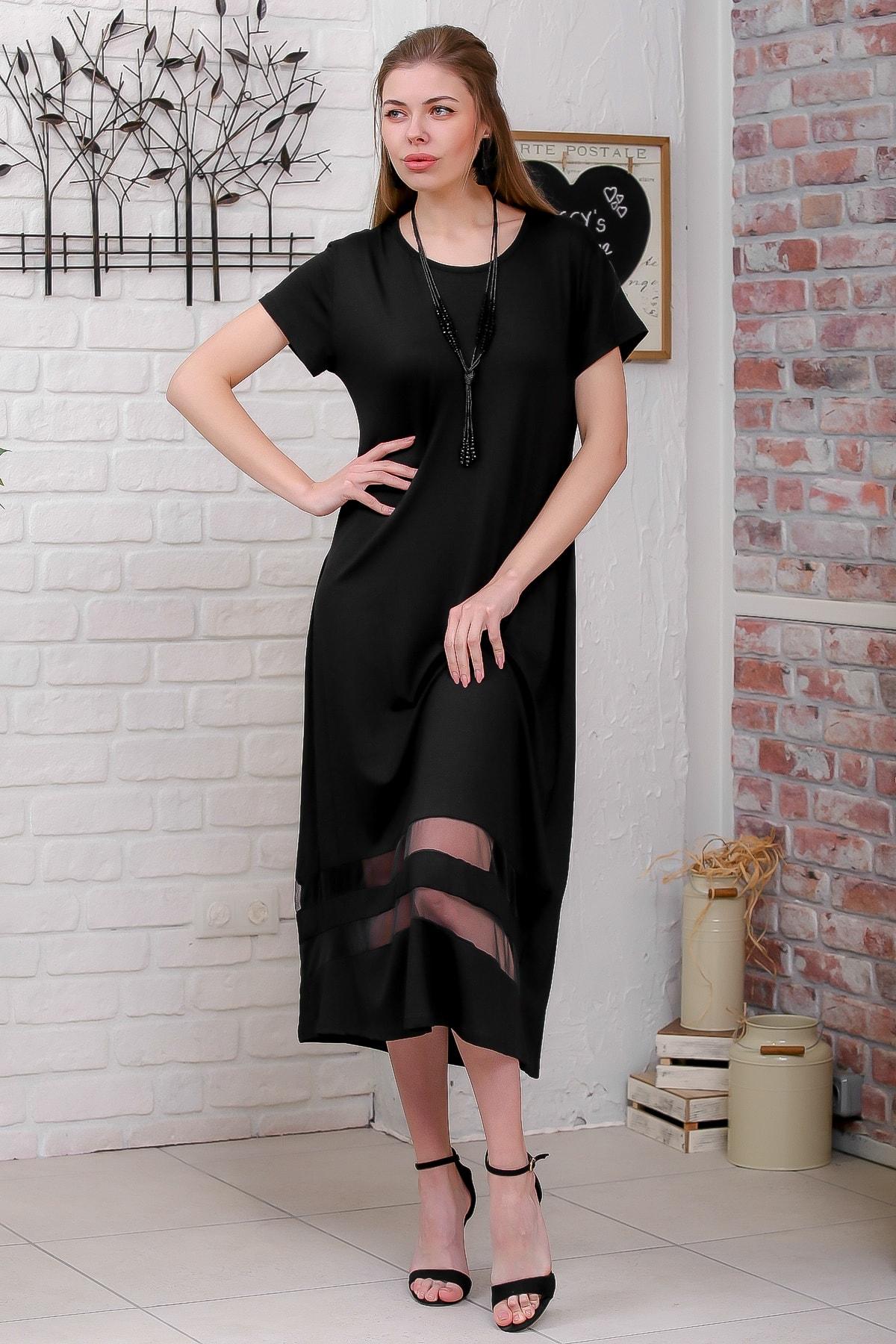 Chiccy Kadın Siyah Sıfır Yaka Kısa Kollu Etek Ucu Mesh Bloklu Salaş Elbise M10160000EL95546