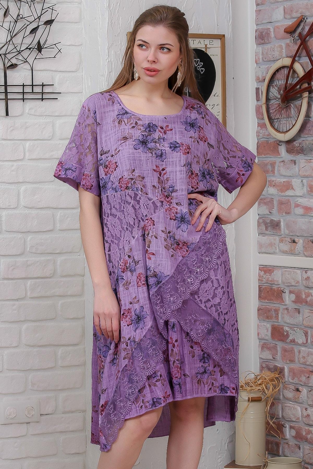 Chiccy Kadın Fuşya Ortanca Desenli Kolları Dantel Detaylı Yıkamalı Salaş Dokuma Elbise M10160000EL95486