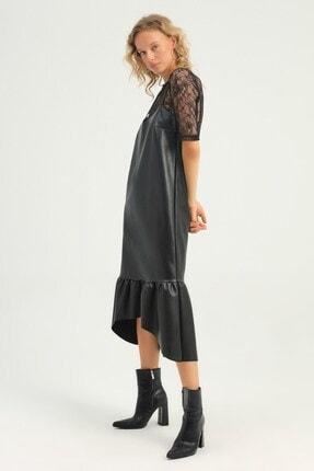 Quzu Dantel Bluzlu Askılı Deri Elbise Siyah
