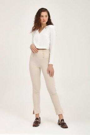 Quzu Kadın Taş Düğme Aksesuarlı Yüksek Bel Pantolon