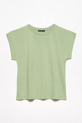 Dilvin Kadın Yeşil Bisiklet Yaka Penye Bluz   00965