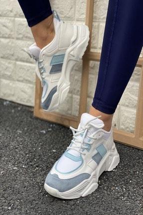 İnan Ayakkabı Kadın Mavi Yüksek Taban Sneaker