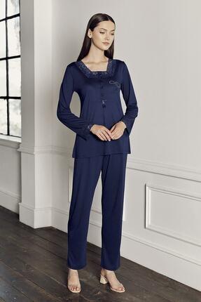 Artış Kadın Lacivert İşlemeli Viskon Pijama Takım
