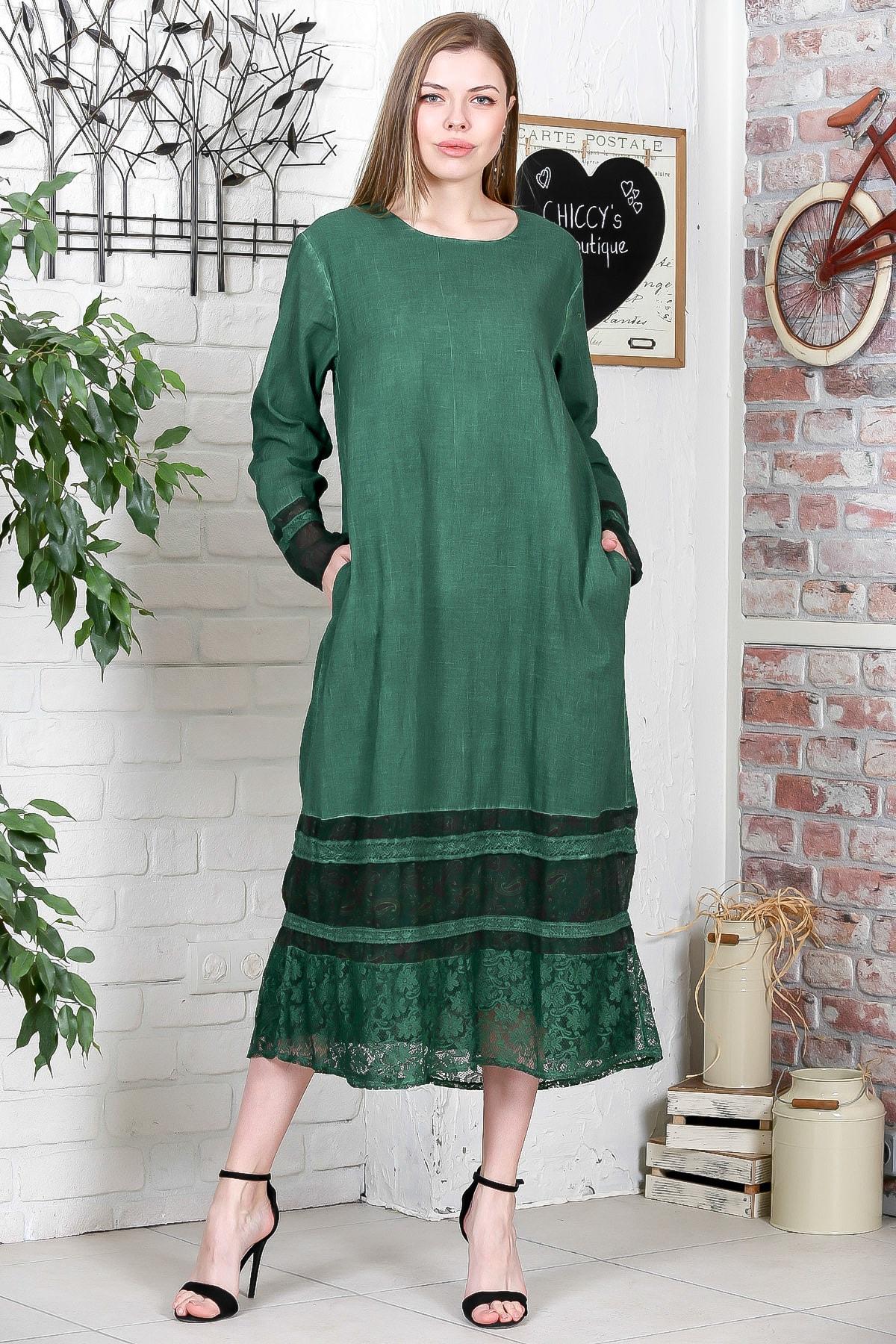 Chiccy Kadın Yeşil Sıfır Yaka Uzun Kol Etek Ucu Tülbent Kumaş Ve Dantel Bloklu Elbise M10160000EL95260