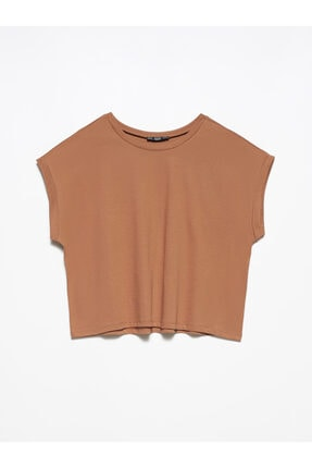 Dilvin Kadın Kahverengi T Kol T-shirt