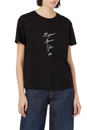 Armani Kadın Siyah Baskılı Bisiklet Yaka Pamuk T Shirt 3k2t7b 2j95z 0999