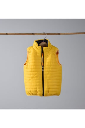 Verscon Unisex Çocuk Sarı Polar Astarlı Yelek
