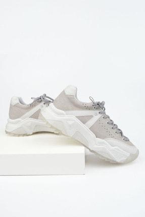 Marjin Kadın Gri Süet Sneaker Dolgu Topuklu Spor Ayakkabı Coye