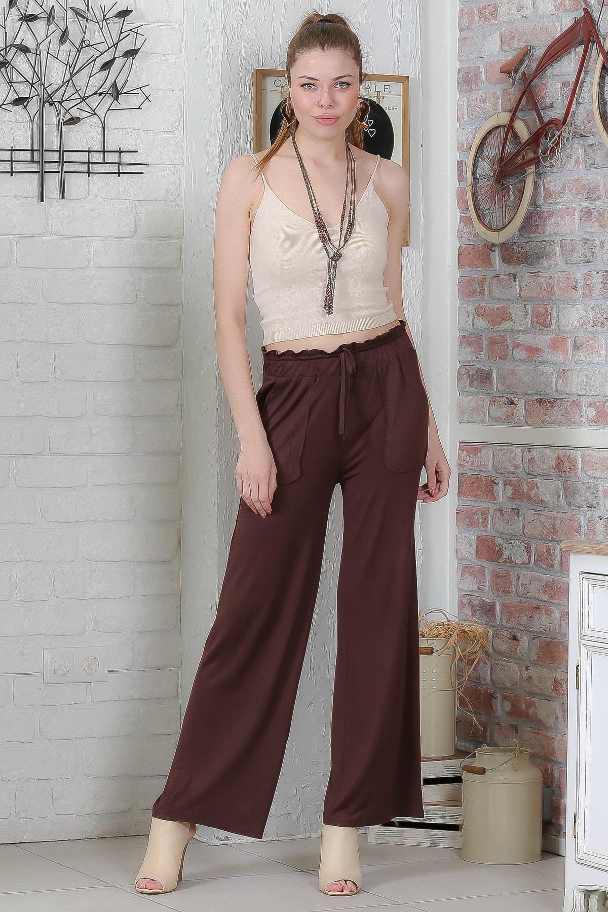 Chiccy Kadın Kahverengi Beli Büzgülü Bağlamalı Cepli Bol Paça Pantolon M10060000PN98917