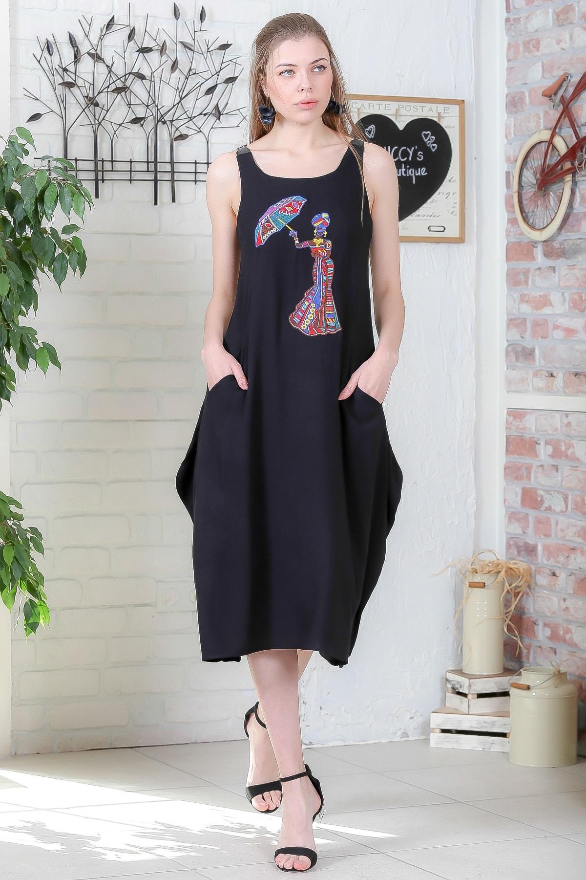 Chiccy Kadın Siyah Şemsiye Nakışlı Askıları Kemer Tokalı Cepli Dokuma Elbise M10160000EL95410