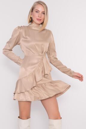 Bsl Kadın Bej Dik Yakalı Etek Fırfır Detaylı Mini Elbise