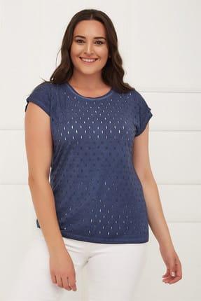 Seamoda Kadın Yağ Yıkamalı Delikli T-Shirt Koyu Mavi-Bb PRA-236315-138847