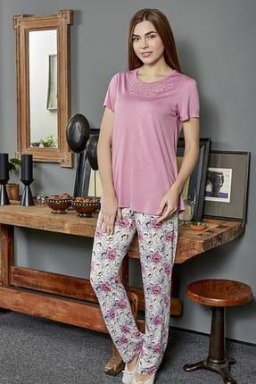 Eros Kadın Gül Kurusu O Yaka Kısa Kollu Pijama Takımı ESK0218Y0600