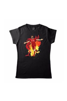 Art T-shirt Kadın Siyah Muhammed (Mohamed) Salah 11 Lıverpool T-Shirt
