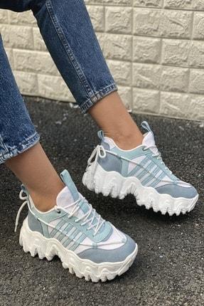 İnan Ayakkabı Kadın Beyaz Mavi Sneakers