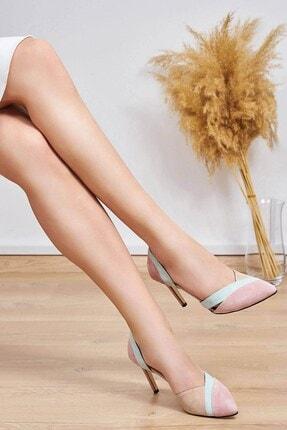 Mio Gusto Kadın Pudra Hakiki Süet Topuklu Ayakkabı