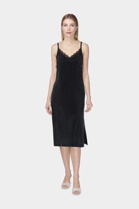 W Collection Dantel Garinili Uzun Kupro Siyah Elbise