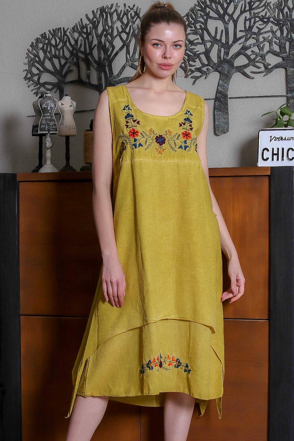Chiccy Kadın Hardal Yıldız Çiçeği Nakışlı Kolsuz Yanları Asimetrik Astarlı Yıkamalı Elbise M10160000EL95307