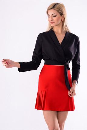 İroni Kadın Sıyah Kruvaze Bağcıklı Bluz 3986-903