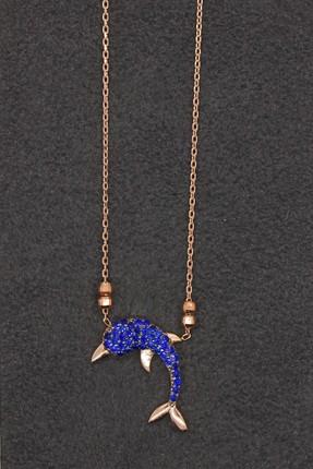Bella Gloria Kadın Saks Mavisi Yunus Rose Gümüş Kolye TGK0120