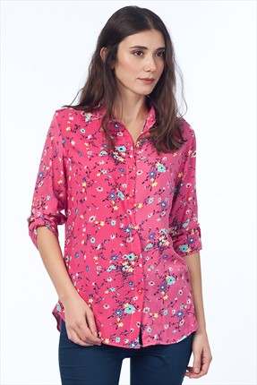 Cotton Mood Kadın Mercan Desenli Uzun Kol Gömlek C60101