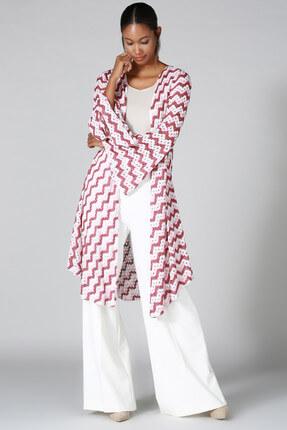 Quincey Kadın Pembe Beyaz Desenli Triko Hırka HK2107