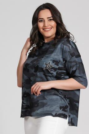 Seamoda Kadın Kamuflaj Desen Cebi Taşlı Sweat-Mavi-Bb PRA-236806-143532
